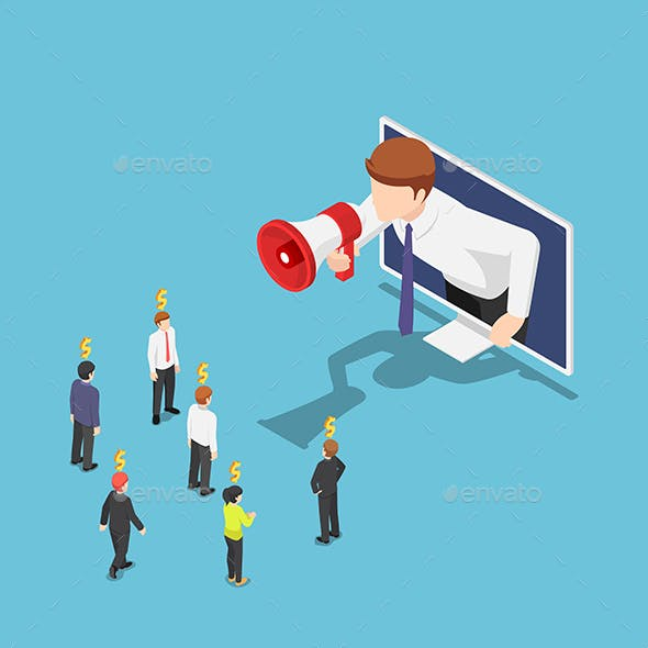 Isometric Businessman Come Out From Monitor and Shout on Megaphone To Refer a Friend