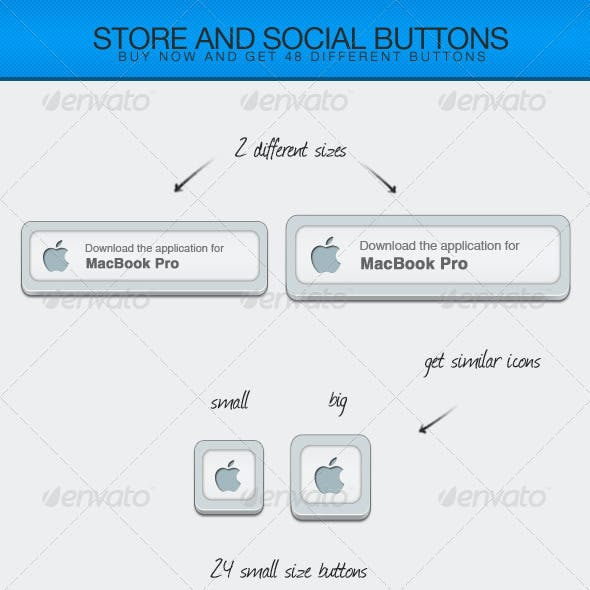 Store and Social Buttons