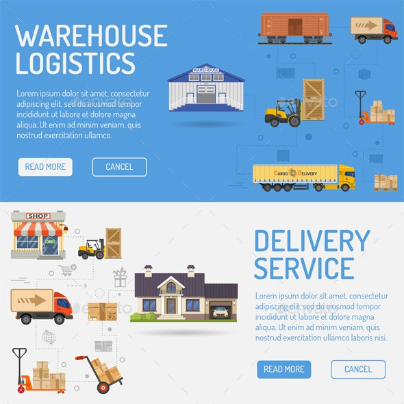Warehouse Delivery and Logistics Banners - Concepts Business
