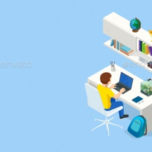 Isometric Contemporary Workplace for a Student