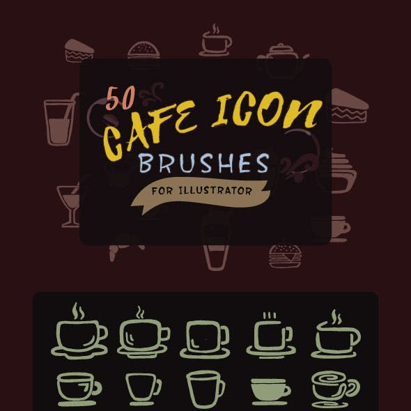 Cafe Icon Brushes for Illustrator
