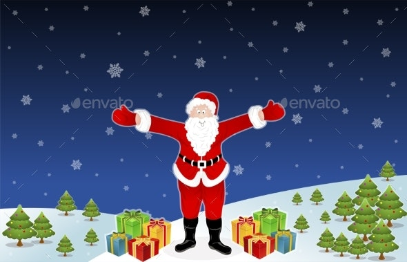 Smiling Santa Claus with Christmas Gifts on Snow - Backgrounds Decorative