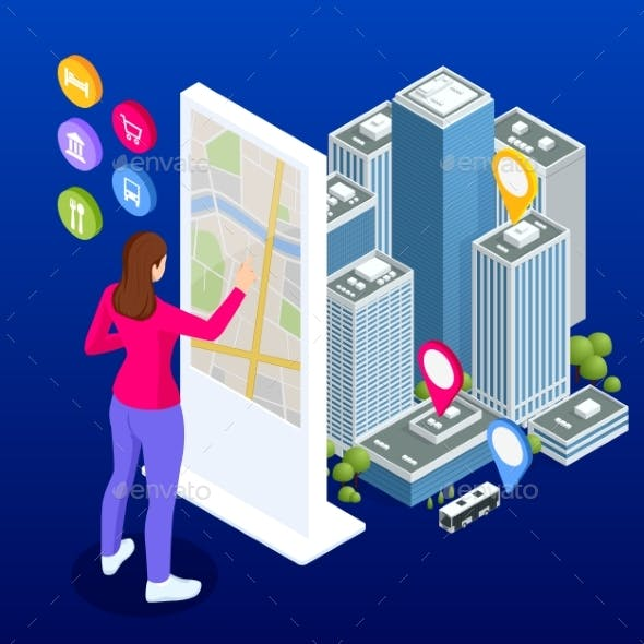 Isometric Town Map with GPS Navigation Mobile