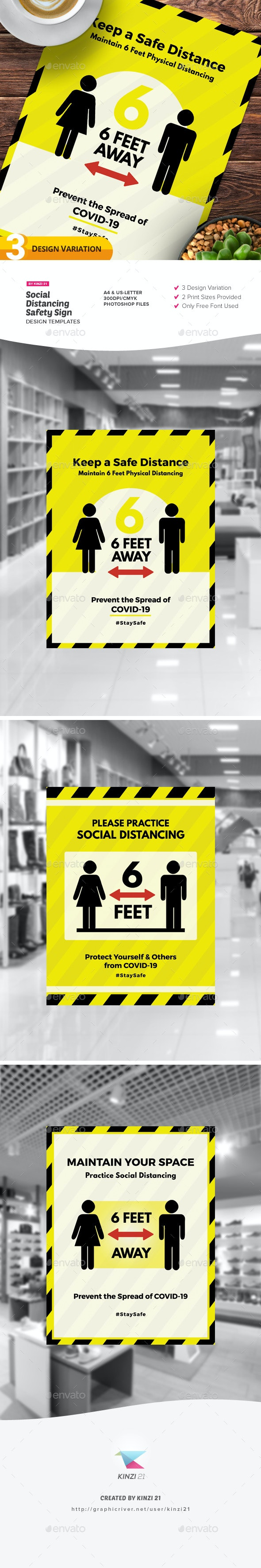 Social Distancing Safety Sign Design Templates - Miscellaneous Print Templates