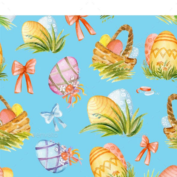 Seamless Pattern with Easter Eggs 2