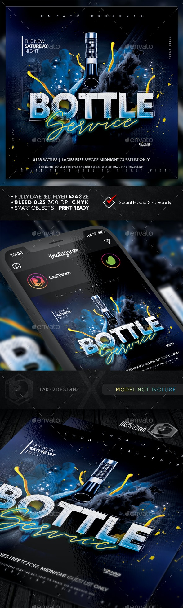 Bottle Service Flyer Template - Clubs & Parties Events