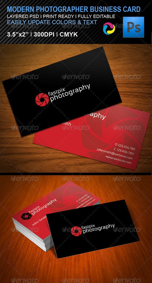 Modern Photography Business Card - Business Cards Print Templates