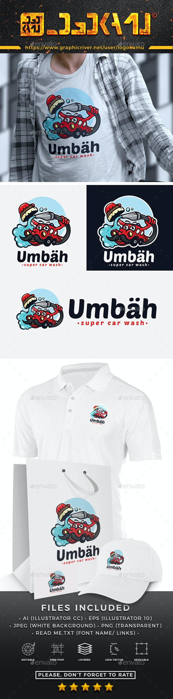 Car Wash Cartoon Logo - Objects Logo Templates