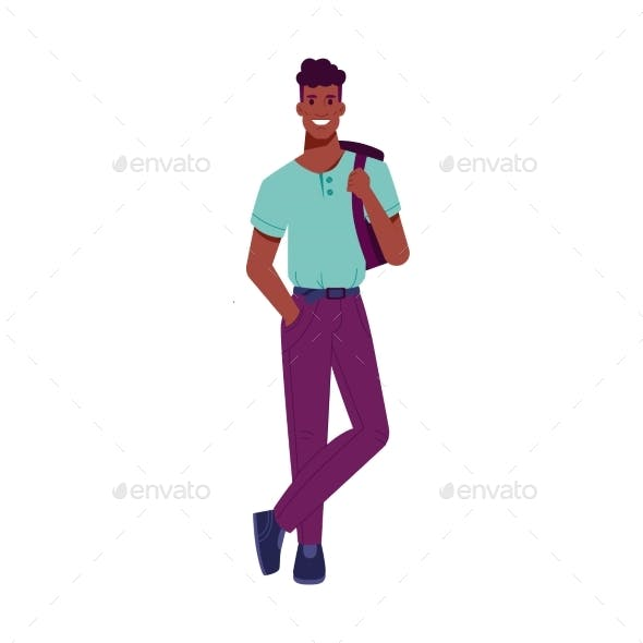 Afro American Guy with Hollywood Smile, Backpack