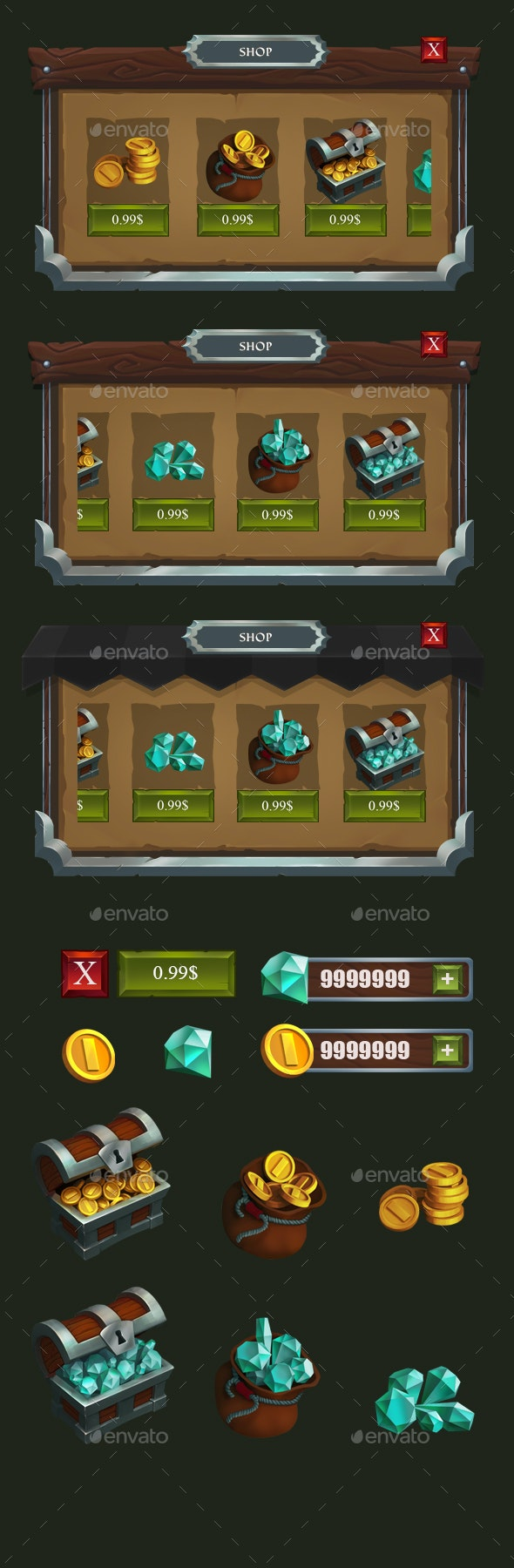 Game RPG Shop Interface - User Interfaces Game Assets