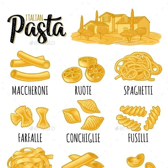 Different Types Macaroni and Italian Pasta