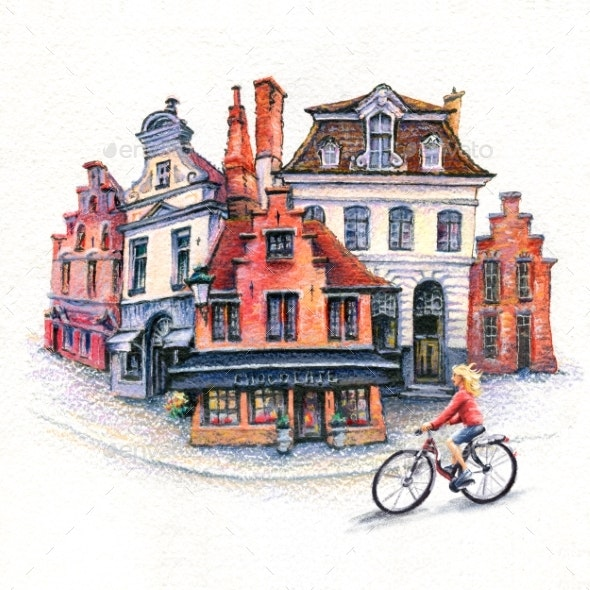 Girl Cyclist on Bruges Street, Belgium - Illustrations Graphics