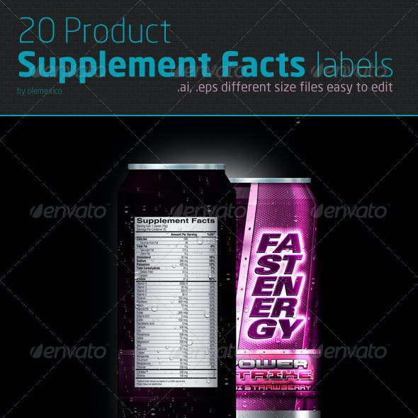 SUPPLEMENT FACTS - 20 Diff Product SF labels