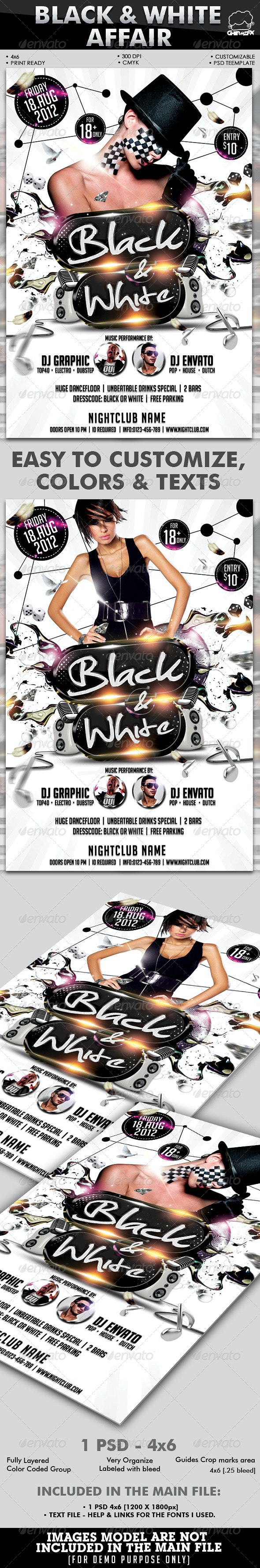 Black & White Affair Flyer Template - Clubs & Parties Events