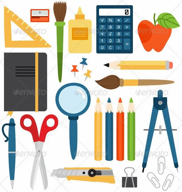 School Set - Objects Vectors