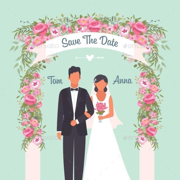 Wedding Invitation Poster. Solemn Happy Wedding
