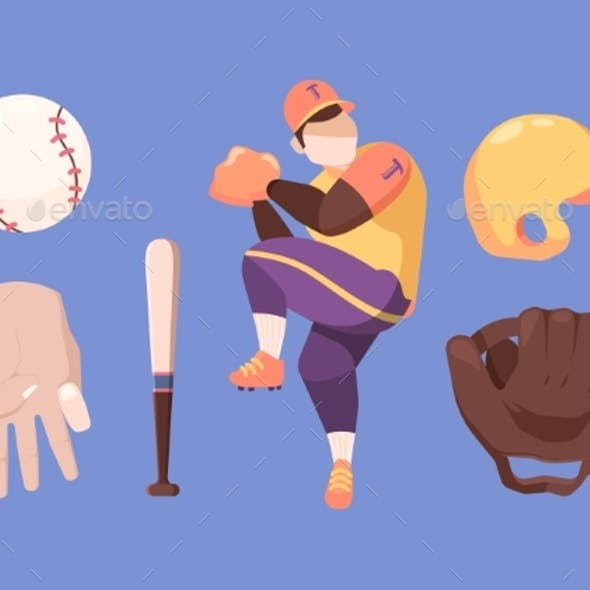 Baseball Set. Character in Special Professional