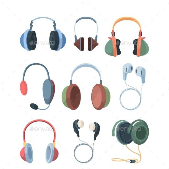 Headphones Collection Set. Ultra Modern Wireless