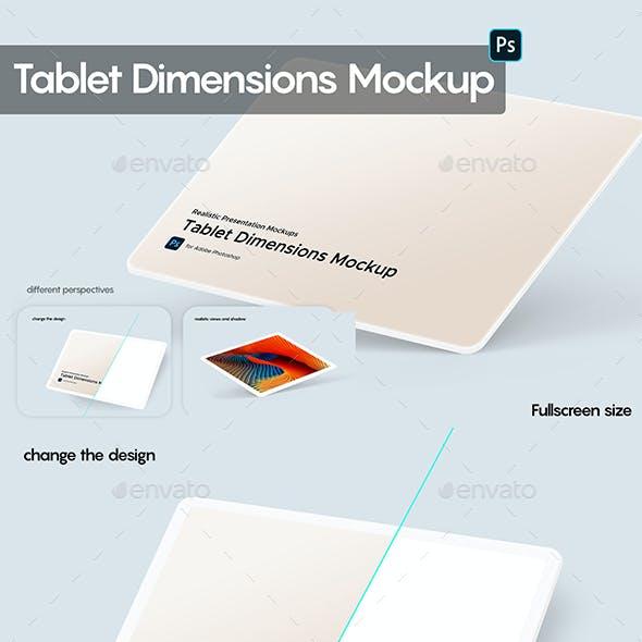 Tablet Dimensions Mockup Fullscreen