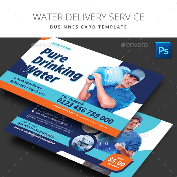 Water Delivery Service Business Card