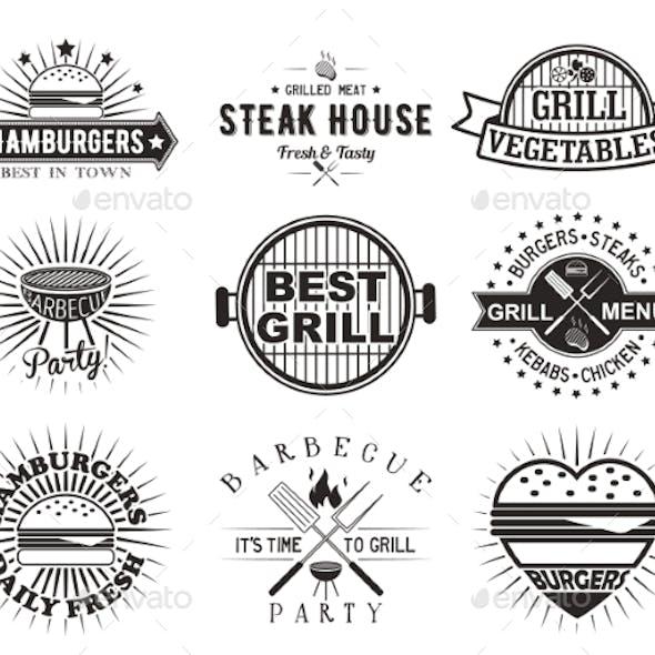 Grill or Bbq Vintage Label, Badge Set, Vector