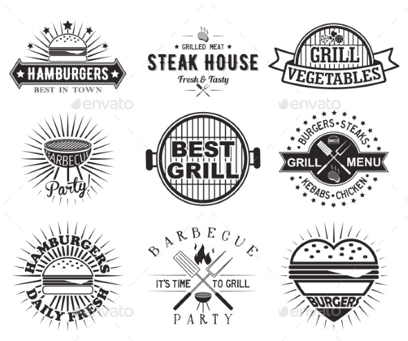 Grill or Bbq Vintage Label, Badge Set, Vector - Food Objects