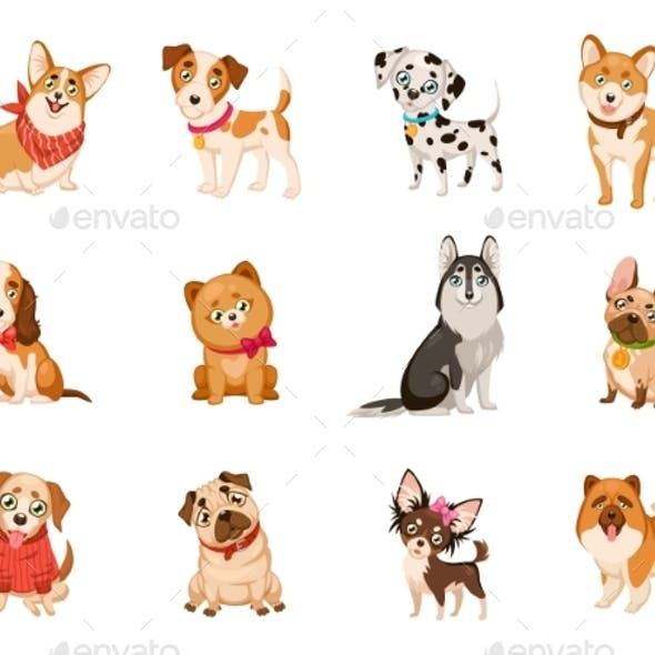 Dogs and Cartoon Puppies