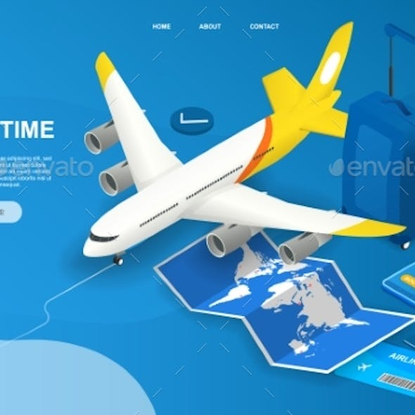 Time To Travel Abstract Isometric Concept