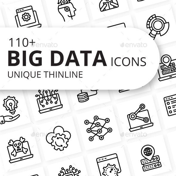 Big Data Outline Icons - Technology Icons