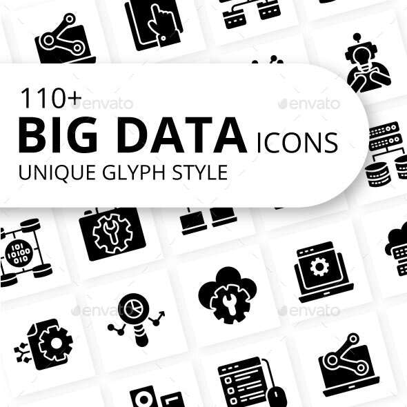 Big Data Glyph Icons - Technology Icons