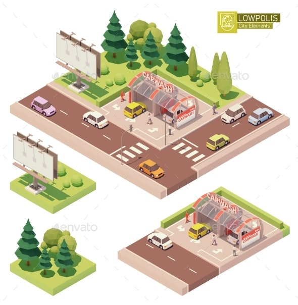 Vector Isometric Self-service Car Wash - Buildings Objects