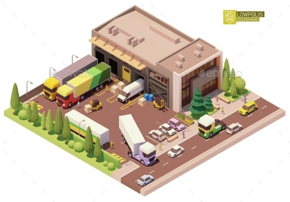 Vector Isometric Warehouse Building - Buildings Objects