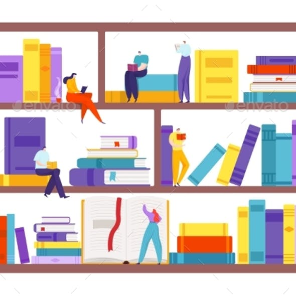 Book at Bookshelf, People Character with Education