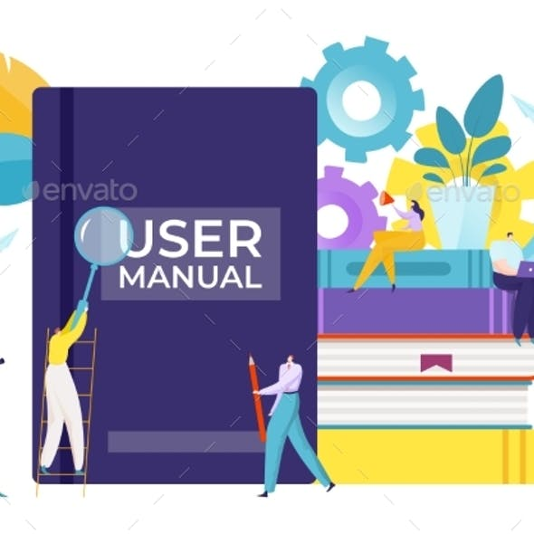 Guide for User Manual Book, Vector Illustration