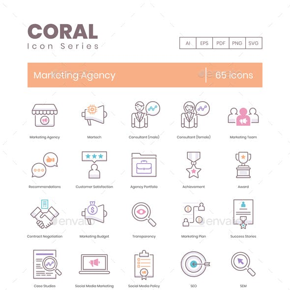 65 Marketing Agency Icons - Coral Series