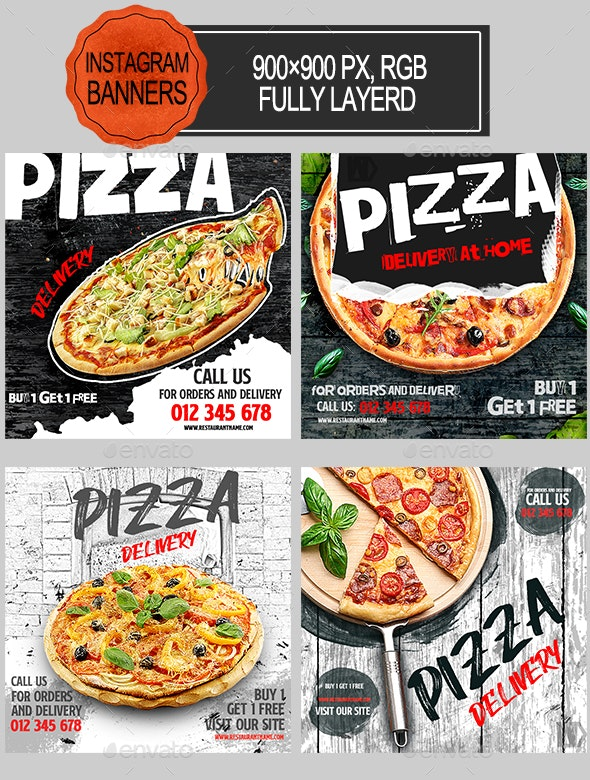 Pizza Delivery Instagram Banners - Banners & Ads Web Elements