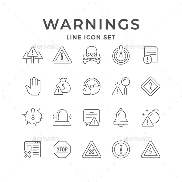 Set Line Icons of Warnings - Man-made objects Objects