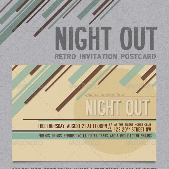 Night Out Retro Invitation Postcard