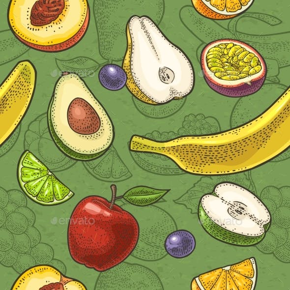 Set Tropical Fruits. Vector Engraving on Craft