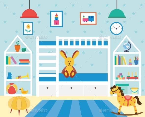 Kids Bedroom with Many Toys and Bunk Bed - Man-made Objects Objects