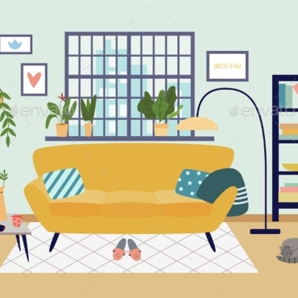 Interior Cozy Living Room in House a Vector Flat