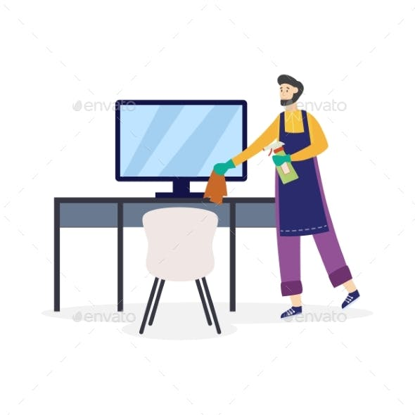 Man Cleaning Workplace Using Cleaners, Flat