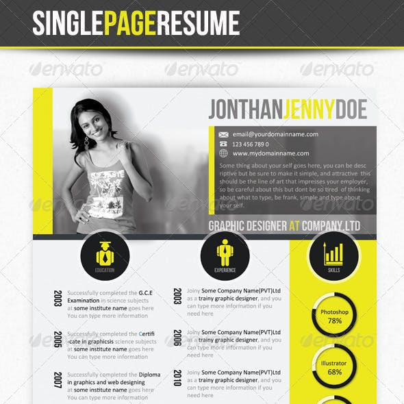 Yellowish Clean Single Page Resume - CV