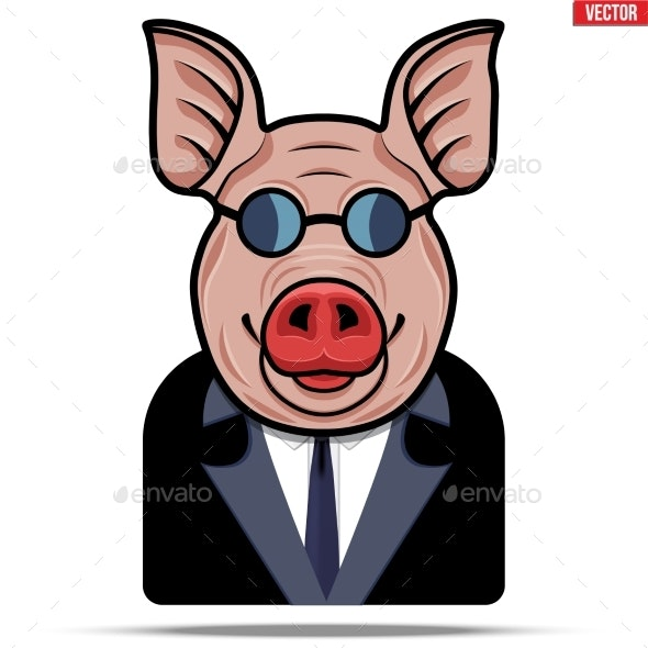 Pig in a Suit and Glasses - Sports/Activity Conceptual