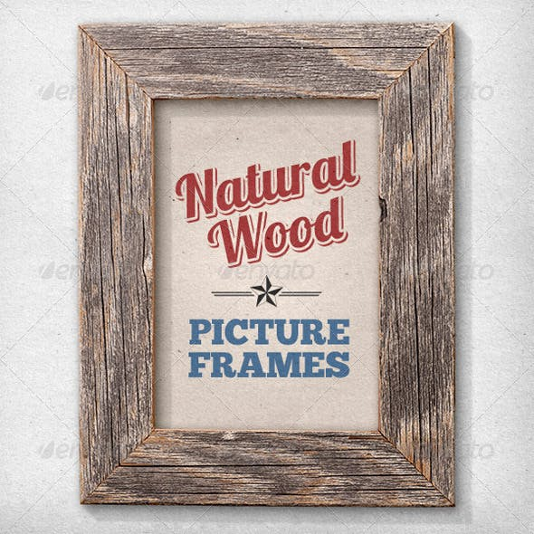 11 Isolated Natural Wood Picture Frames