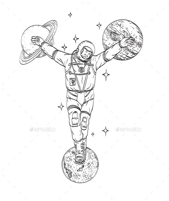 Astronaut Wearing Spacesuit Crucified on Planets - People Characters