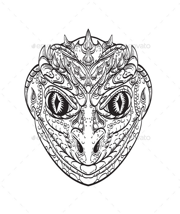 Head of a Reptilian Humanoid - Monsters Characters