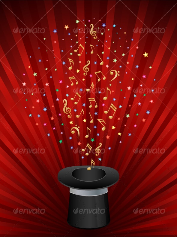 Music background with a magic top hat. - Backgrounds Decorative