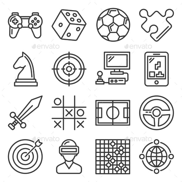 Game and Entertainment Icons Set on White - Miscellaneous Vectors