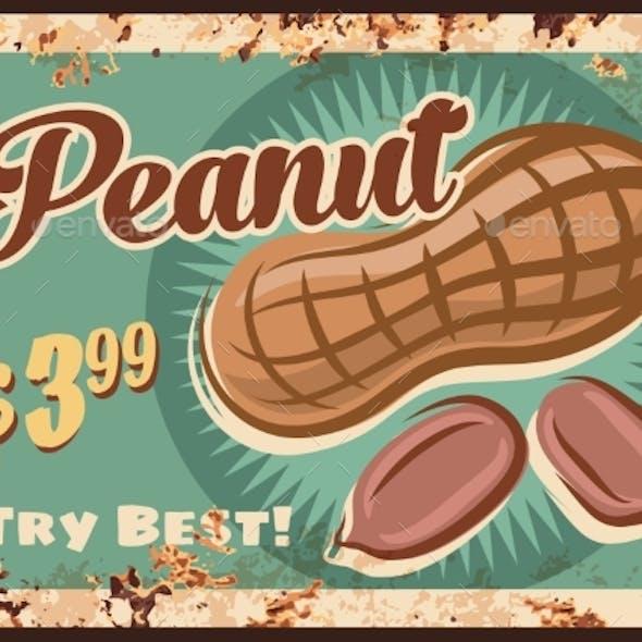 Peanut Rusty Metal Plate, Vector Vintage Tin Sign
